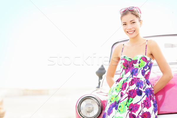 Car woman smiling happy Stock photo © Maridav