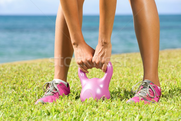 Fitness - kettlebell crossfit woman Stock photo © Maridav