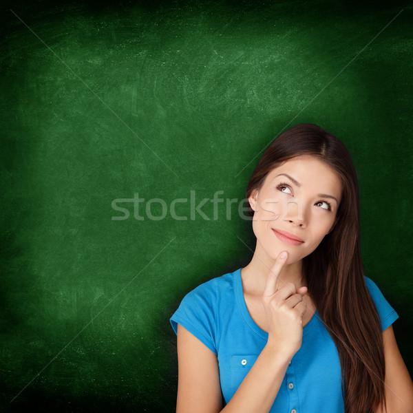 Thinking woman student or teacher with blackboard Stock photo © Maridav