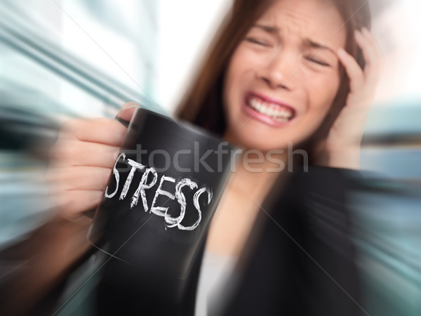Stress - business person stressed at office Stock photo © Maridav
