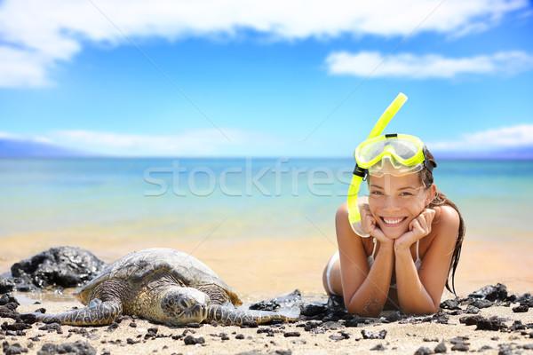 Сток-фото: пляж · путешествия · женщину · Гавайи · морем · черепахи