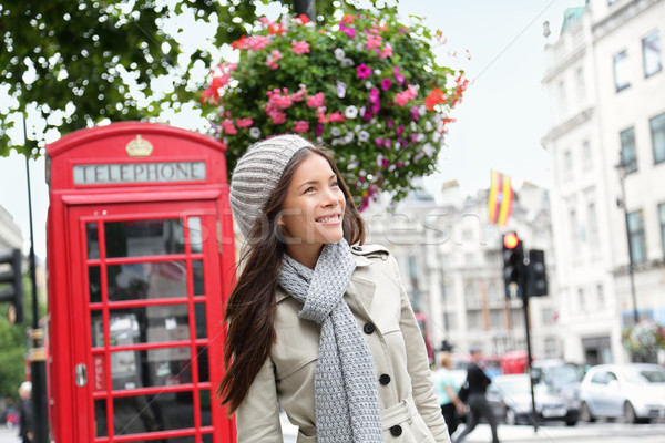 People in London - woman by red phone booth Stock photo © Maridav