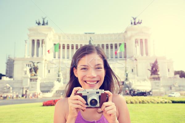 Italy travel - tourist girl taking photos in Rome Stock photo © Maridav