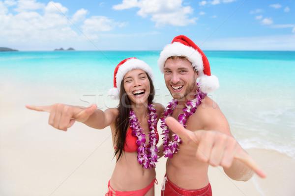 Christmas Hawaii vacation - Hawaiian beach couple Stock photo © Maridav