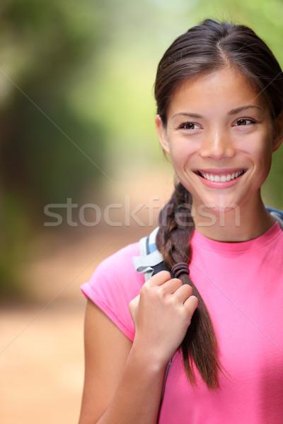 Zdrowych odkryty kobieta turystyka młodych mieszany Zdjęcia stock © Maridav