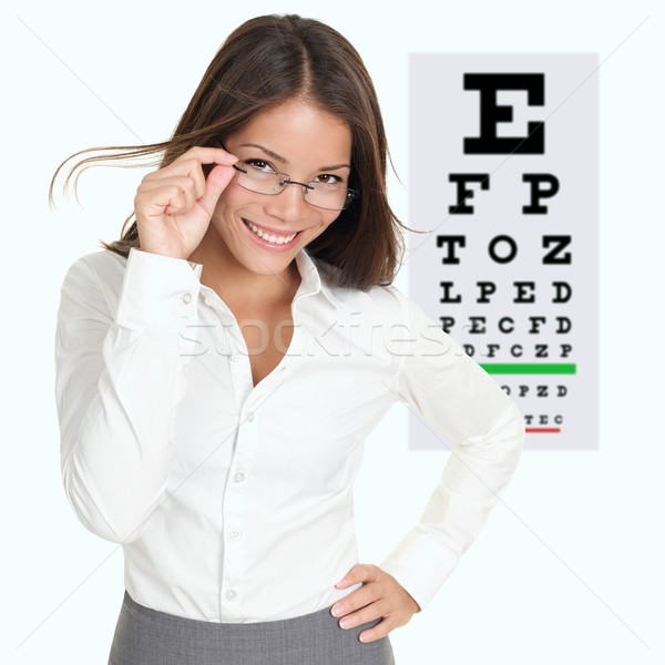 Optometrist opticien tonen oogonderzoek grafiek Stockfoto © Maridav