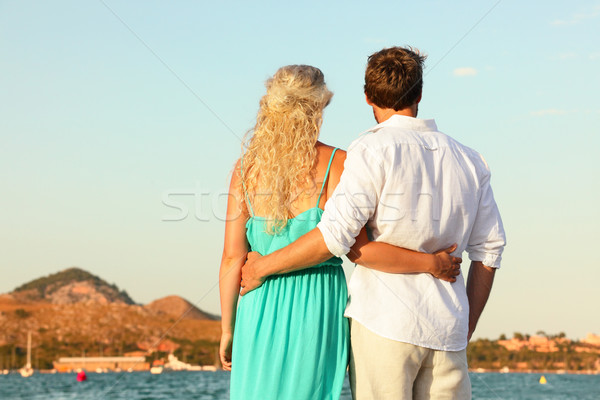 Beach couple romantic at sunset Stock photo © Maridav