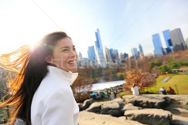 女性 セントラル·パーク ニューヨーク市 遅い 秋 早い ストックフォト © Maridav