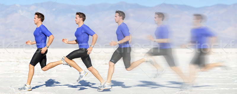 Running and sprinting man in motion at great speed Stock photo © Maridav