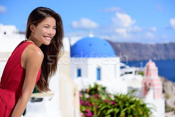 Stok fotoğraf: Santorini · adası · Asya · kadın · yaz · seyahat · turist