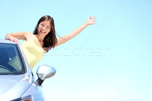 Car woman on road on road trip Stock photo © Maridav