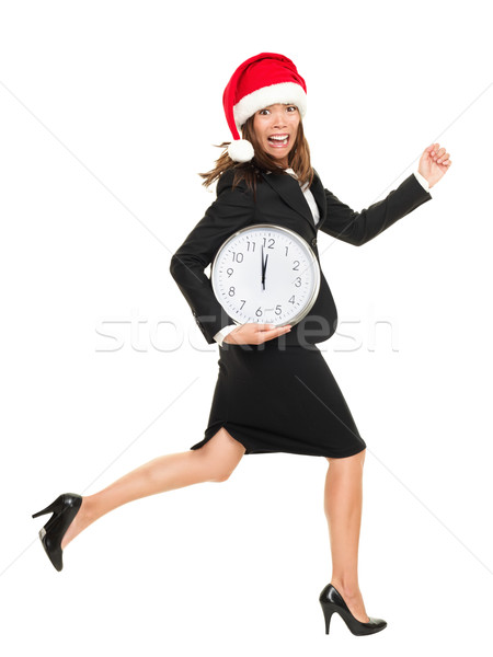 Christmas late busy business woman running against time Stock photo © Maridav