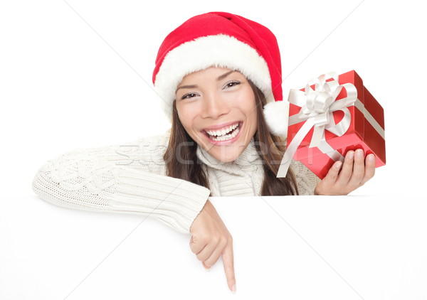 Christmas girl leaning over billboard sign  Stock photo © Maridav