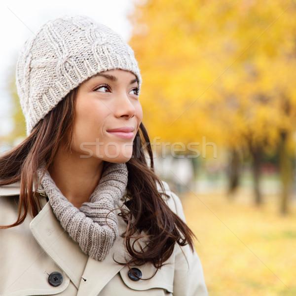 Photo stock: Pense · automne · femme · regarder · automne · forêt