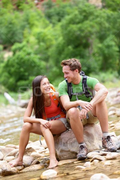 Hiking people - hiker couple happy in Zion Park Stock photo © Maridav