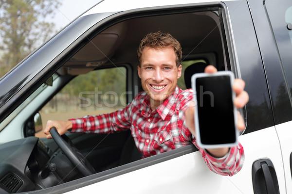 Zdjęcia stock: Smartphone · człowiek · samochodu · jazdy