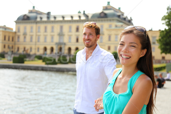 Stockholm couple at Drottningholm palace, Sweden Stock photo © Maridav