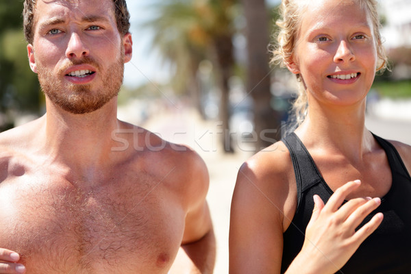 Man and woman runners portrait - couple jogging Stock photo © Maridav
