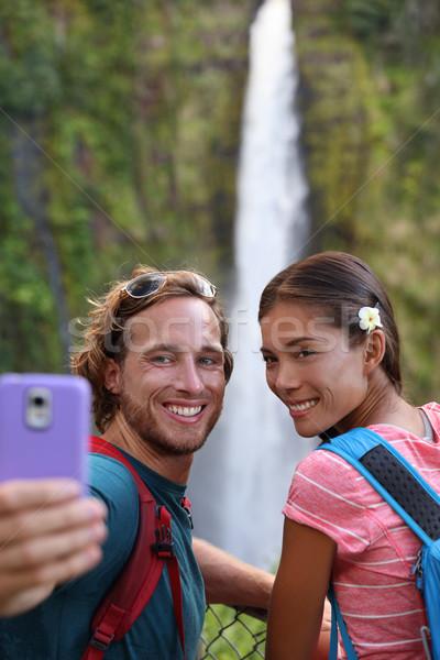 Hawaii paar toeristen reizen telefoon Stockfoto © Maridav