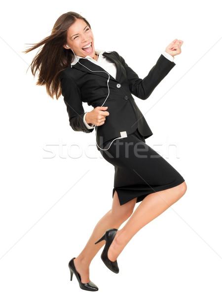Сток-фото: женщину · mp3-плеер · танцы · играет · воздуха