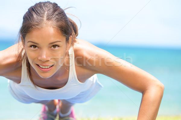 Stock fotó: Sport · fitnessz · nő · képzés · fekvőtámasz · női · atléta