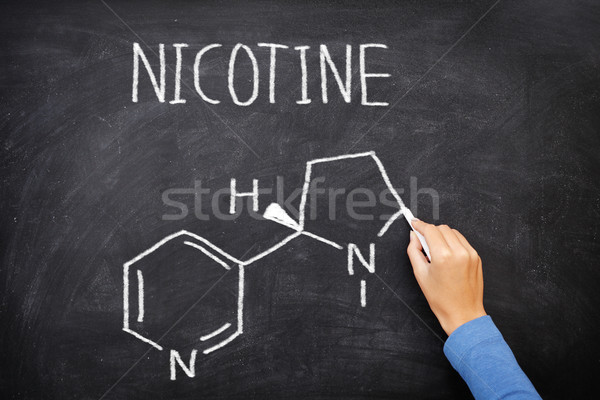 Nicotine molecule chemical structure on blackboard Stock photo © Maridav