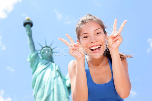 Tourist funny at Statue of Liberty, New York, USA Stock photo © Maridav