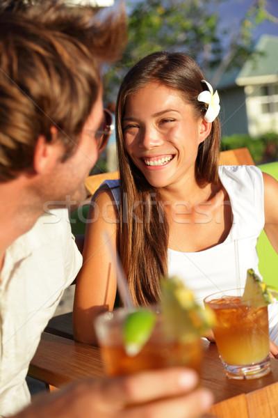 романтические пару напитки пляж клуба Сток-фото © Maridav
