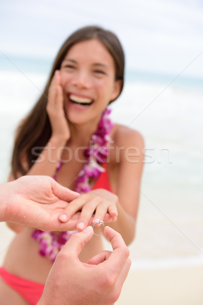 Stock photo: Marriage proposal casual couple beach wedding