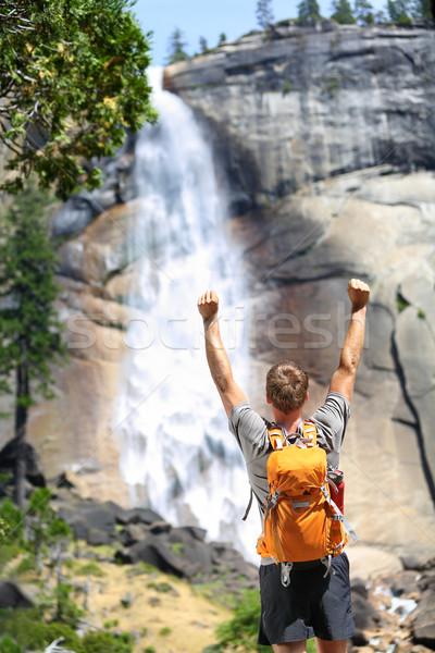 幸せ ハイキング 男 成功 滝 ストックフォト © Maridav