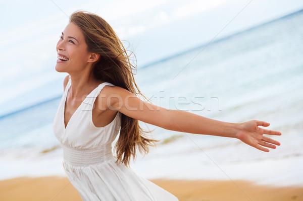Photo stock: Libre · heureux · femme · ouvrir · bras · liberté