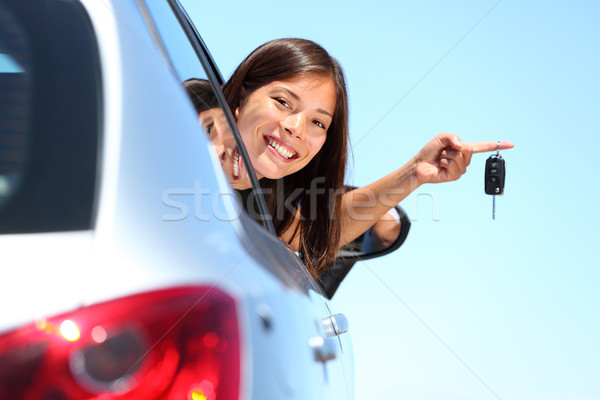 Driver woman showing new car keys Stock photo © Maridav