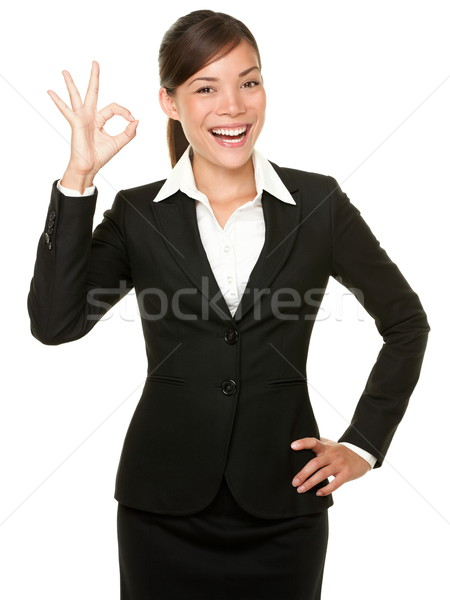 Perfect - business woman OK sign Stock photo © Maridav