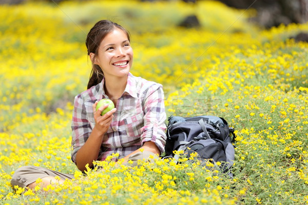 Hiking girl in spring Stock photo © Maridav