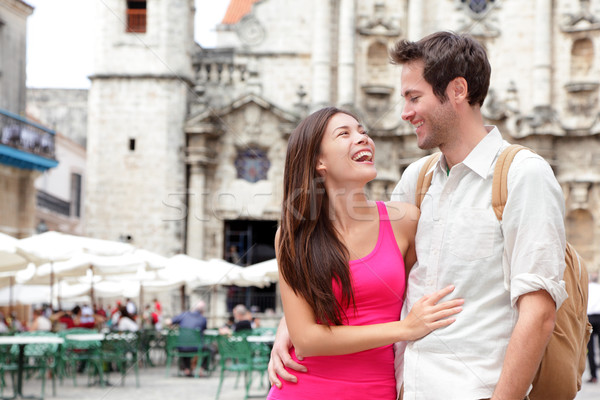 Tourists - happy couple Stock photo © Maridav
