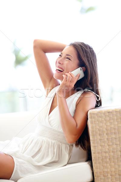 スマートフォン きれいな女性 話し 座って かなり ストックフォト © Maridav