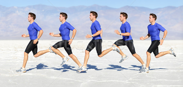 Running man - runner in speed motion composite Stock photo © Maridav