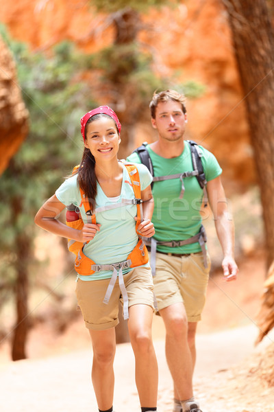 People hiking - couple hikers in Bryce Canyon Stock photo © Maridav