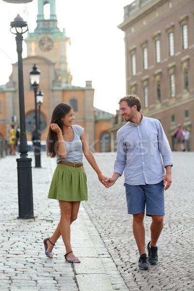 Stockholm çift yürüyüş romantik kraliyet saray Stok fotoğraf © Maridav
