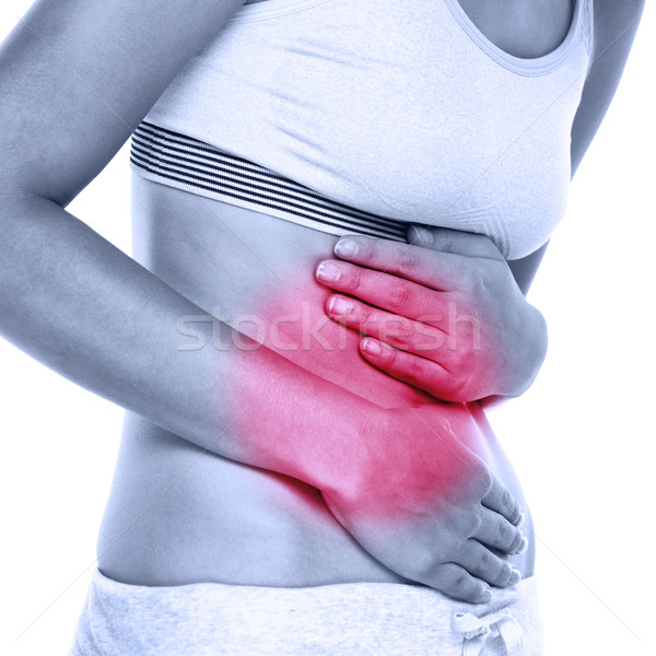 Stomach abdomen pain - woman having abdominal pain Stock photo © Maridav