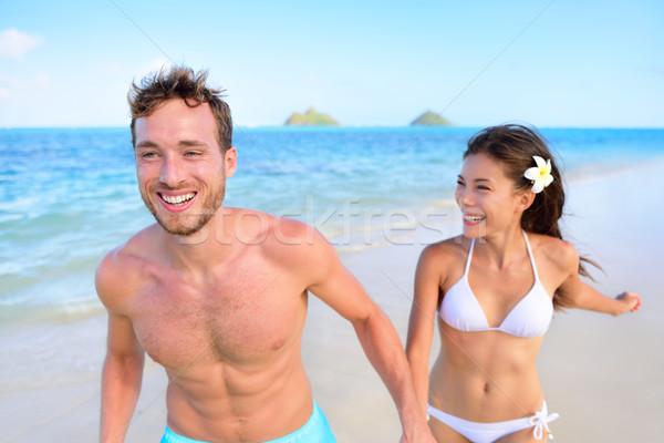 Stockfoto: Gelukkig · paar · strand · vakantie · zomervakantie