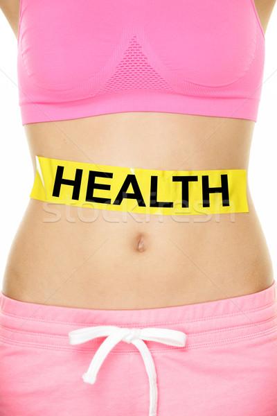 Egészség figyelmeztetés gyomor test diéta táplálkozás Stock fotó © Maridav