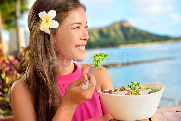 Saláta egészségesen enni nő étterem Hawaii ázsiai Stock fotó © Maridav