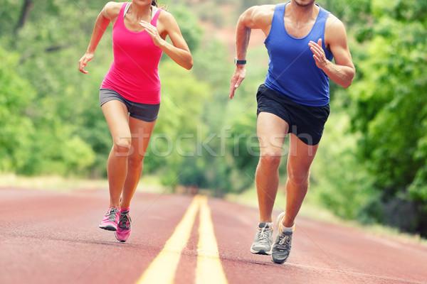 Alacsony részleg határozott pár fut út Stock fotó © Maridav