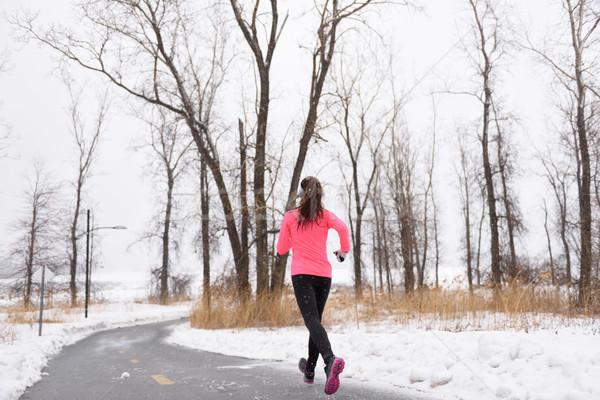 Corredor corrida inverno neve ativo estilo de vida Foto stock © Maridav