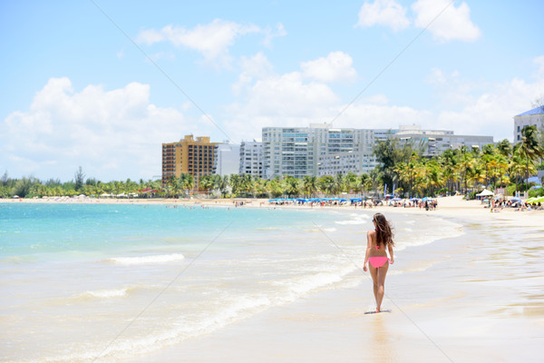 People on Isla Verde resort beach in Puerto Rico Stock photo © Maridav