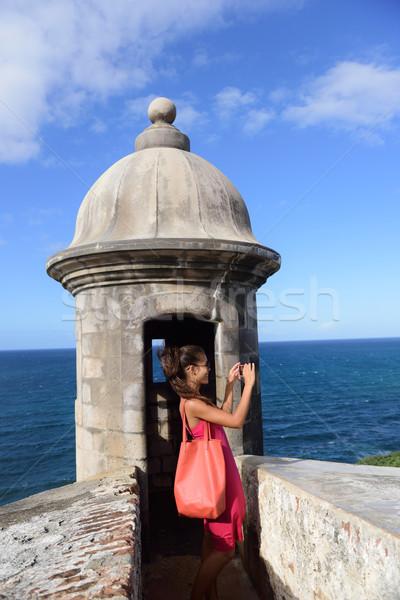 Puerto Rico woman taking pictures at Old San Juan Stock photo © Maridav