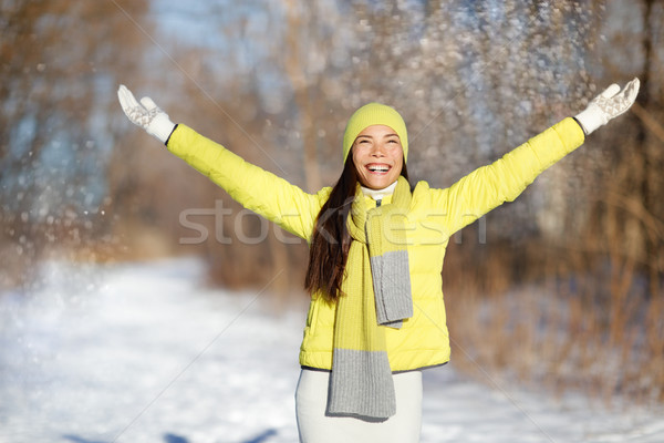 Winter happiness freedom woman with arms up Stock photo © Maridav