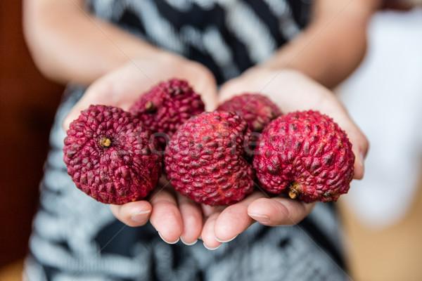 Lychee fruit closeup of hands holding asian fruits Stock photo © Maridav