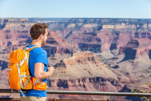 Grand Canyon kirándulás turista férfi hátizsák táska Stock fotó © Maridav